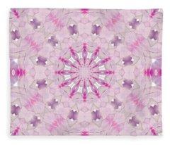 Delicate Lilac And Ultra Violet Floral Fantasy Mandala Fleece Blanket