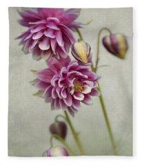 Delicate Pink Columbine Fleece Blanket