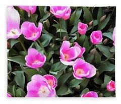 Delicate Pink Tulips Of Istanbul  Fleece Blanket