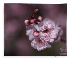Delightful Pink Prunus Flowers Fleece Blanket