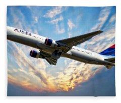 Delta Passenger Plane Fleece Blanket