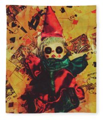 Demonic Possessed Joker Doll Fleece Blanket
