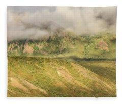 Denali National Park Mountain Under Clouds Fleece Blanket