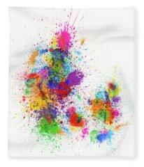 Denmark Paint Splashes Map Fleece Blanket