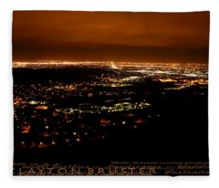 Denver Area At Night From Lookout Mountain Fleece Blanket