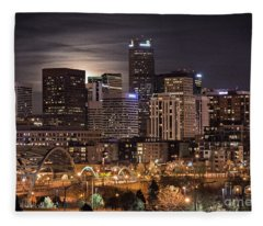 Denver Skyline At Night Fleece Blanket