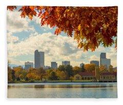 Denver Skyline Fall Foliage View Fleece Blanket