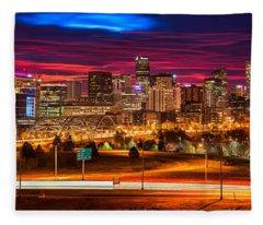 Denver Skyline Sunrise Fleece Blanket