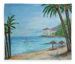 Descanso Beach, Catalina Fleece Blanket