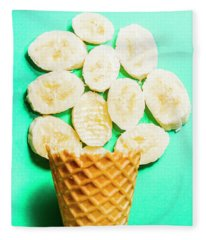Dessert Concept Of Ice-cream Cone And Banana Slices Fleece Blanket