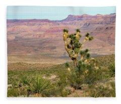 Desert Scene With Joshua Tree Fleece Blanket