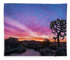 Desert Sunrise At Joshua Tree Fleece Blanket