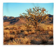 Desert Tree And Hualapai Mountains Fleece Blanket