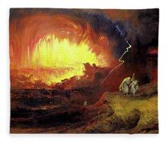 Destruction Of Sodom And Gomorah Fleece Blanket