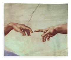 Detail From The Creation Of Adam Fleece Blanket