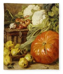 Detail Of A Still Life With A Basket, Pears, Onions, Cauliflowers, Cabbages, Garlic And A Pumpkin Fleece Blanket