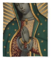 Detail Of The Virgin Of Guadalupe Oil On Copper Fleece Blanket