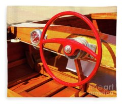 Detail Of Wood Speed Boat With Bright Red Steering Wheel  Fleece Blanket