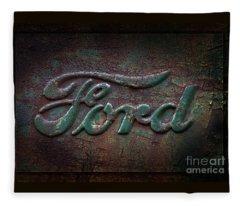 Detail Old Rusty Ford Pickup Truck Emblem Fleece Blanket
