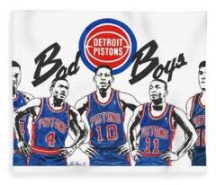 Detroit Bad Boys Pistons Fleece Blanket