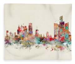 Detroit City Skyline Fleece Blanket