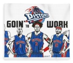Detroit Goin' To Work Pistons Fleece Blanket