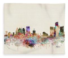 Detroit Michigan City Skyline Fleece Blanket