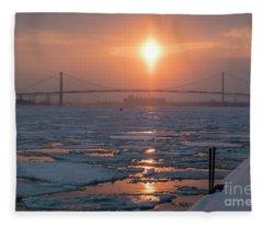 Detroit River Sunset Fleece Blanket