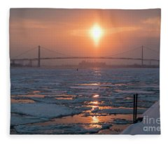 Detroit River Sunset Fleece Blanket