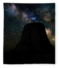 Devils Tower And Milky Way Fleece Blanket