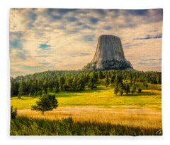 Devil's Tower - The Other Side Fleece Blanket