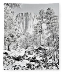 Devils Tower Wyoming Fleece Blanket