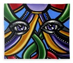 Abstract Eye Painting - Devotion Fleece Blanket