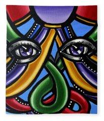 Colorful Eye Art Paintings Abstract Eye Painting Chromatic Artwork Fleece Blanket