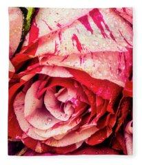 Dew Covered Red White Rose Fleece Blanket