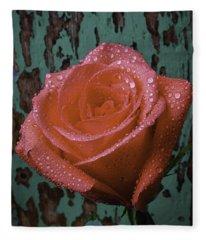Dew Covered Rose Fleece Blanket