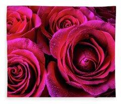 Dewy Rose Bouquet Fleece Blanket
