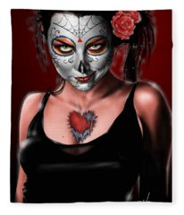 Dia De Los Muertos The Vapors Fleece Blanket