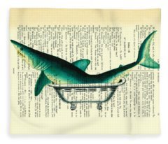 Shark In Bathtub Illustration On Dictionary Paper Fleece Blanket