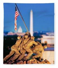Digital Composite, Iwo Jima Memorial Fleece Blanket