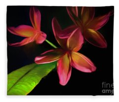 Digitized Sunset Plumerias #2 Fleece Blanket
