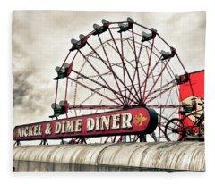 Diner Car Ferris Wheel Square Format Fleece Blanket