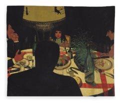 Dinner By Lamplight Fleece Blanket