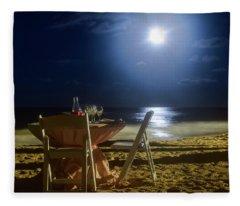 Dinner For Two In The Moonlight Fleece Blanket