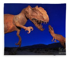 Dinosaur Battle In Jurassic Park Fleece Blanket