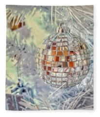Disco Ball Tree Ornament Fleece Blanket