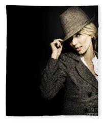 Discreet Woman In Vintage Fashion Fleece Blanket