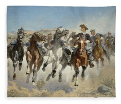 Dismounted The Fourth Troopers Moving The Led Horses Fleece Blanket