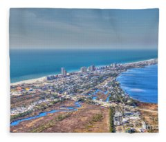 Distant Aerial View Of Gulf Shores Fleece Blanket