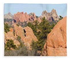 Distant Garden Of The Gods From Red Rock Canyon Fleece Blanket
